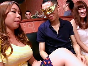 Horny Rin Iroha and her big-tittied girlfriends arrange titfuck