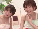 Superb japanese Rika Hoshimi shares in threesome