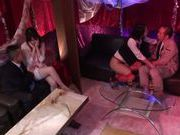 Cute Japanese angel in fancy red stocking in a group action