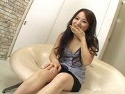 Miina Lovely Asian model spreads her legs and gets hairy pussy fingered