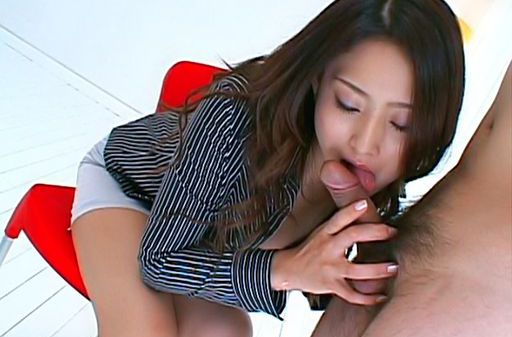 Risa Asian model gives a hot blowjob to her guy