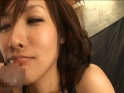 Nao Ayukawa Asian model is tied and sucks cock