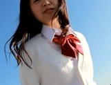 Hot Asian schoolgirl Kaho Mizuzaki has her first threesome debut picture 8