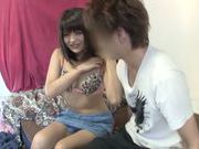 Japanese AV model amazing teen gets a cock ride