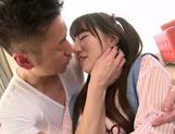Savoury Japanese teen Chiharu Izono is drilled in a doggystyle picture 14