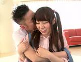 Savoury Japanese teen Chiharu Izono is drilled in a doggystyle picture 15
