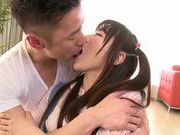 Savoury Japanese teen Chiharu Izono is drilled in a doggystyle