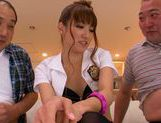 Japanese wife Ayaka Tomoda pleases two horny males picture 14