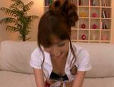 Japanese wife Ayaka Tomoda pleases two horny males picture 8