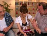 Japanese wife Ayaka Tomoda pleases two horny males picture 9