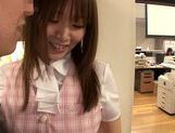 Sexy Japanese chick Hana Nonoka gets screwed in the office picture 11