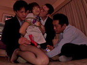 Three bondage addicted dudes tease juicy chick Rina Itouasian babe, asian schoolgirl}