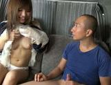 Attractive Japanese AV model makes a perfect handwork picture 8