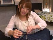 Frisky Japanese redhead Shiori Kamisaki makes hot titfuck