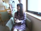 Japanese AV model gets her hairy beaver fingerfucked picture 15