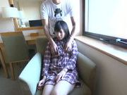 Japanese AV model gets her hairy beaver fingerfucked