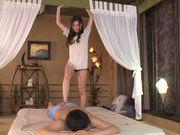 Footjob and hand work by superb Asian babe Karen Aoki
