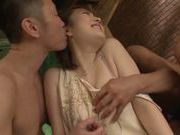 Savory Japanese teen Ai Haneda in tough threesome sex