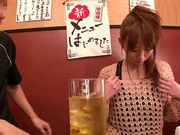 Pretty Japanese redhead Hana Nonoka likes blowjob action