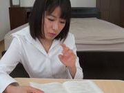 Classy Japanese teacher licks cock and rides it hard
