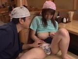 Lustful housewife with huge boobs Rina Araki enjoys food in vagina
