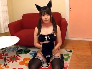 Cute teen Tsubomi in cat ears wraps her lips around a dick
