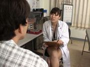 Sexy Japanese woman doctor deepthroats her patient