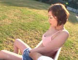 Short-haired milf Nao Mizuki rides her lover's cock on pov outdoors picture 15