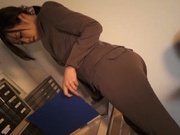 Sexy office lady in trouser suit Nozomi Yui gives a great head job