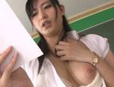 Insatiable teacher Mira Tamana masturbating her cunt picture 14