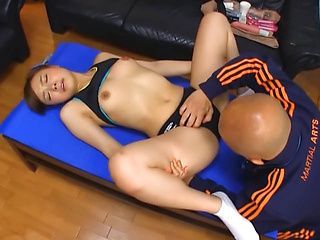 Sporty Japanese girl with fit figure enjoys oral sex and bang