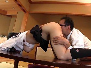 Frisky Asian schoolgirl Tsukada Shiori enjoys hardcore gangbang