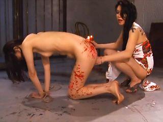 Tomoko Yanagi Asian teen lesbian enjoys bondage with milf