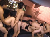 Horny Asian chicks get involve into a nasty gangbang at the party