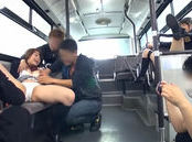 Salacious Japanese AV Models get some lesbian action and a pounding in the bus