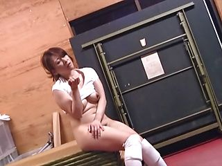 Naughty Japanese AV model is a hot milf getting a rear fuck