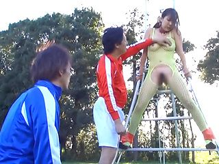 Naughty Asian chick gets hot fucking on the sports field