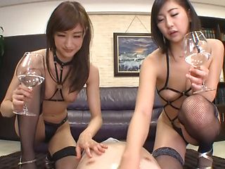 Amazing office girls in sexy lingerie arrange a kinky threesome action