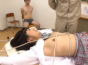 Sweet Asian schoolgirl Aki Hinomoto experiences hardcore threesome bang