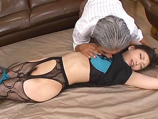 Hikari Hino is a hot milf with a hairy Asian pussy in mmf action
