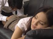 Charming Japanese teacher Emiri Okazaki gives head and bounces on rod