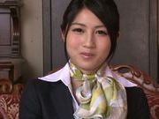 Seductive Japanese stewardess Reo Saionji likes hardcore