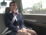 Horny stewardess Yuna Shiina gets her slit drilled in a car picture 14