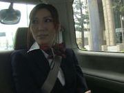 Horny stewardess Yuna Shiina gets her slit drilled in a car