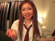 Japanese AV model enjoys sucking lots of cock in her school uniformasian women, horny asian}
