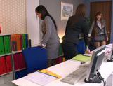 Sweet Riho Nanase get nasty by the office along friends picture 11