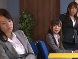 Sweet Riho Nanase get nasty by the office along friends picture 2