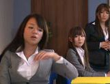 Sweet Riho Nanase get nasty by the office along friends picture 3