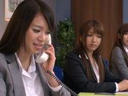 Sweet Riho Nanase get nasty by the office along friends