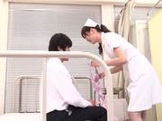 Asian nurse with curly hair Arisa Nakano makes cock massage